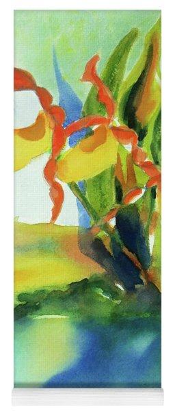 Yellow Moccasin Flowers Yoga Mat