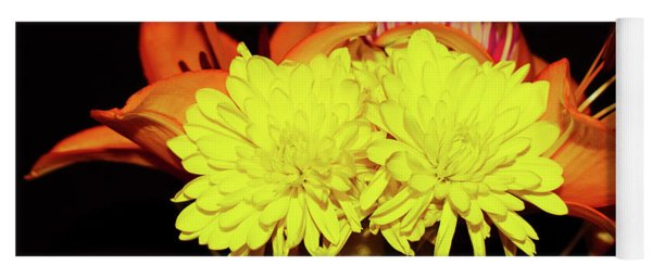 Yellow Mums And Orange Lilies  Yoga Mat