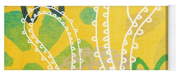 Yellow Paisley Garden Yoga Mat