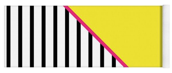 Yellow Pink And Black Geometric Yoga Mat