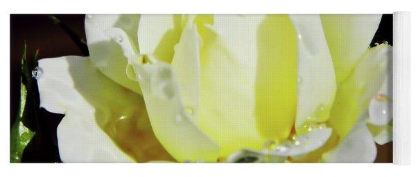 Yellow Rose Dew Drops Yoga Mat