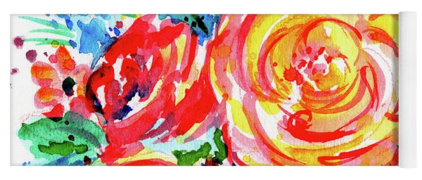 Yellow Rose Red Yoga Mat