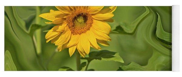 Yellow Sunflower On Green Background Yoga Mat
