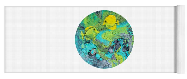 Yoga Mat featuring the painting Yellow Tang On White by Darice Machel McGuire