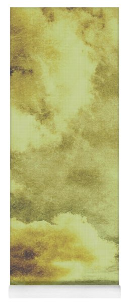 Yellow Toned Textured Grungy Cloudscape Yoga Mat