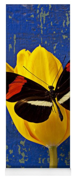 Yellow Tulip With Orange And Black Butterfly Yoga Mat