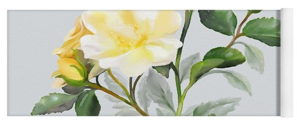 Yellow Watercolor Rose Yoga Mat