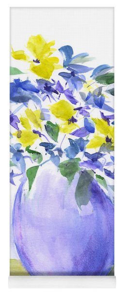 Yellows And Violets Palette Knife Watercolor Painting Yoga Mat