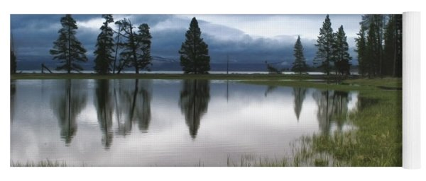 Yellowstone Lake Reflection Yoga Mat