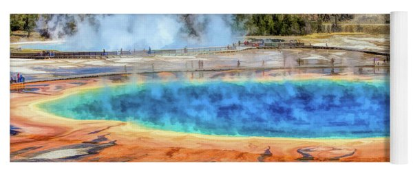 Yoga Mat featuring the painting Yellowstone National Park Grand Prismatic Spring by Christopher Arndt