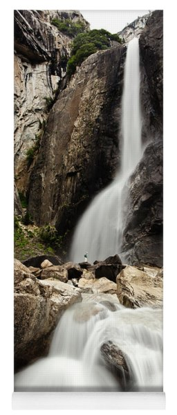 Yosemite Falls Lower And Hiker Yoga Mat