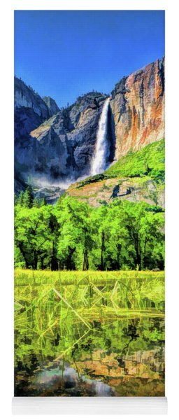 Yoga Mat featuring the painting Yosemite National Park Bridalveil Fall by Christopher Arndt