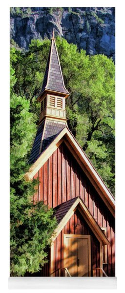 Yoga Mat featuring the painting Yosemite National Park Valley Chapel by Christopher Arndt
