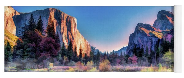 Yoga Mat featuring the painting Yosemite National Park Valley by Christopher Arndt