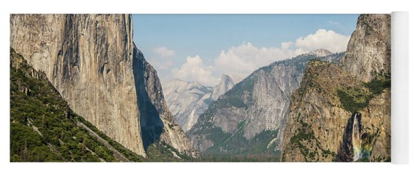 Yosemite Tunnel View With Bridalveil Rainbow By Michael Tidwell Yoga Mat
