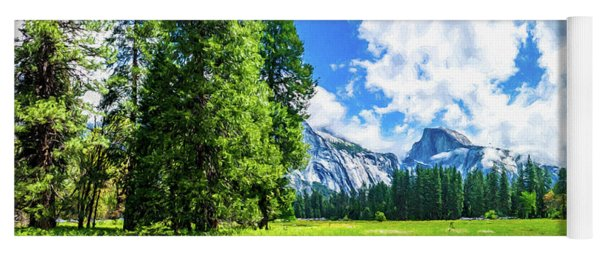 Yosemite Valley And Half Dome Digital Painting Yoga Mat