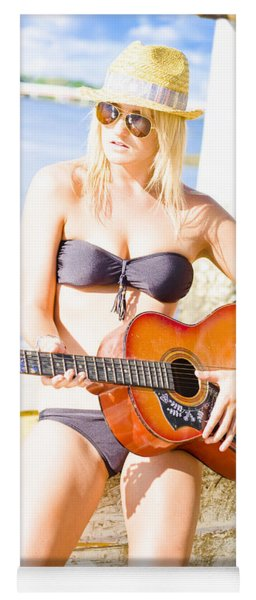 Young Attractive Blonde Woman Playing Guitar Yoga Mat