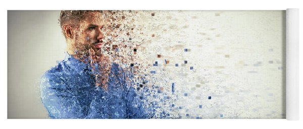 Young Businessman Dispersing Into Pixels. Yoga Mat