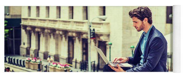 Young Businessman Working On Wall Street In New York Yoga Mat