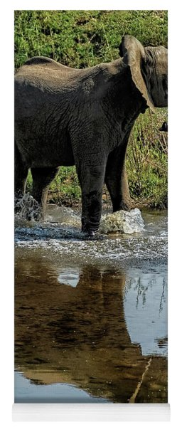 Young Elephant Playing In A Puddle Yoga Mat