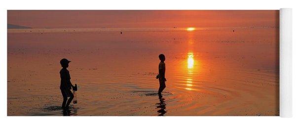 Young Fishermen At Sunset Yoga Mat