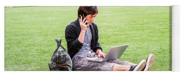 Young Japanese Man Traveling, Working In New York 15041418 Yoga Mat