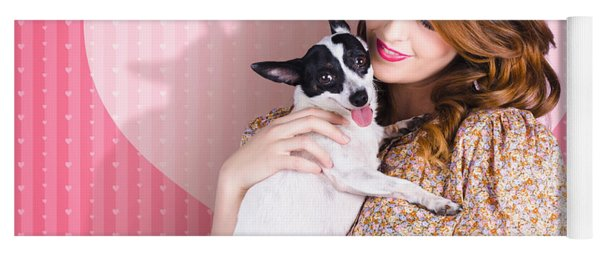 Young Loving Woman Holding Cute Small Pet Dog Yoga Mat