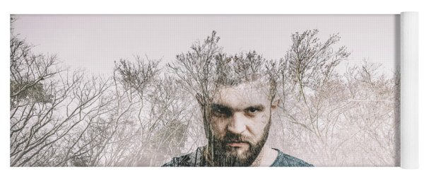 Young Man And The Forest. Double Exposure. Yoga Mat