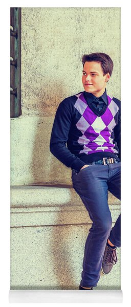Yoga Mat featuring the photograph Young Man Casual Fashion In New York 15042517 by Alexander Image