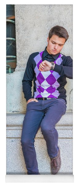 Yoga Mat featuring the photograph Young Man Casual Fashion In New York 15042518 by Alexander Image