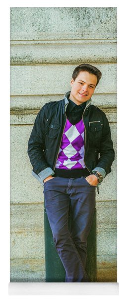 Yoga Mat featuring the photograph Young Man Casual Fashion In New York 15042519 by Alexander Image