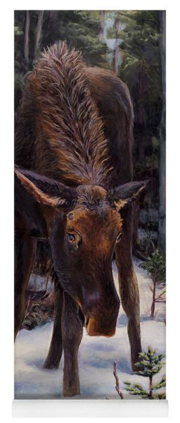 Young Moose And Pussy Willows Springtime In Alaska Wildlife Painting Yoga Mat