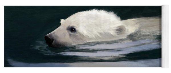 Young Polar Bear Swimming Yoga Mat
