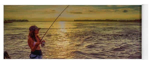 Young Woman Fishing Yoga Mat