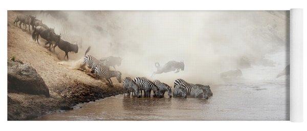 Zebra And Wildebeest Migration In Africa Yoga Mat