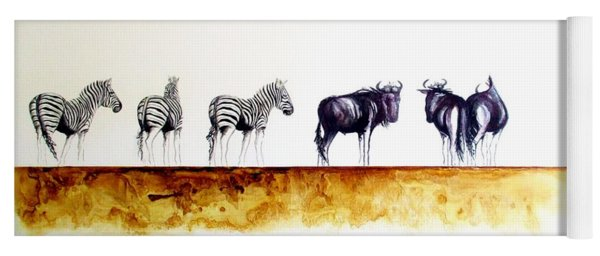 Zebra And Wildebeest Yoga Mat