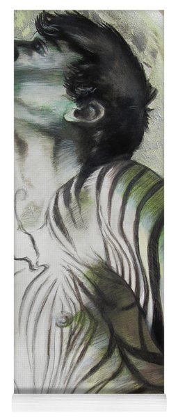 Yoga Mat featuring the painting Zebra Boy In Spring by Rene Capone