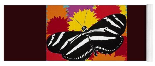 Zebra Butterfly Yoga Mat