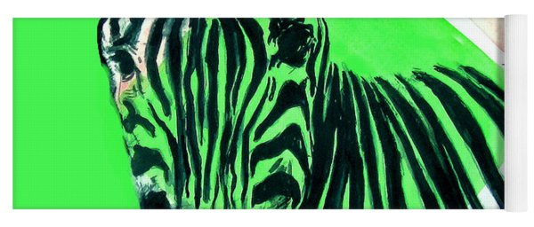 Zebra In Green Yoga Mat