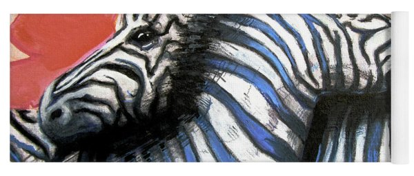 Yoga Mat featuring the painting Zebra In Love by Rene Capone