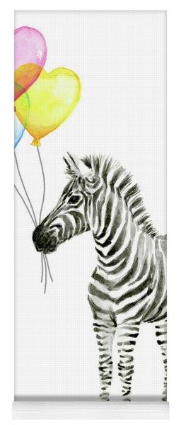 Baby Zebra Watercolor Animal With Balloons Yoga Mat