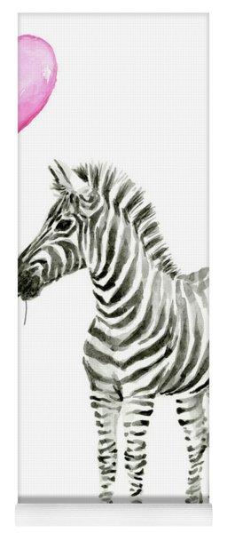 Zebra Watercolor Whimsical Animal With Balloon Yoga Mat