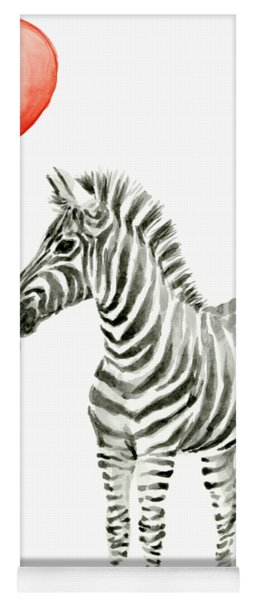 Zebra With Red Balloon Whimsical Baby Animals Yoga Mat