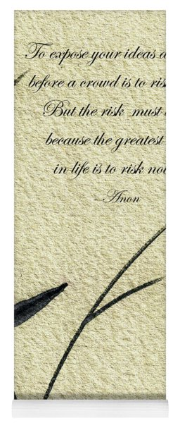 Zen Sumi 4n Antique Motivational Flower Ink On Watercolor Paper By Ricardos Yoga Mat