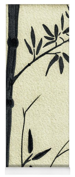 Zen Sumi Antique Bamboo 1a Black Ink On Fine Art Watercolor Paper By Ricardos Yoga Mat