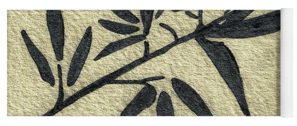 Zen Sumi Antique Botanical 4a Ink On Fine Art Watercolor Paper By Ricardos Yoga Mat