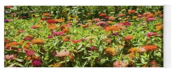 Zinnias And Sunflowers Yoga Mat