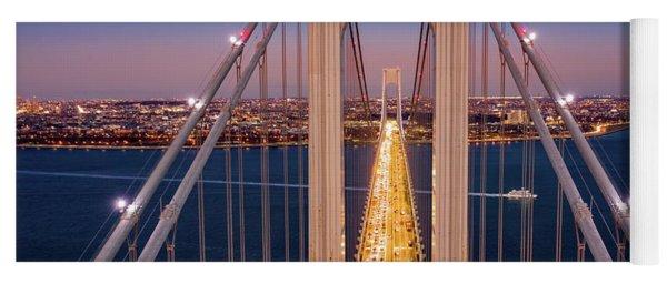 Aerial View Of Verrazzano Narrows Bridge Yoga Mat