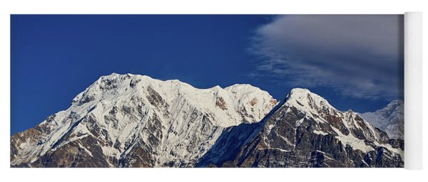 Annapurna South Peak And Pass In The Himalaya Mountains, Annapurna Region, Nepal Yoga Mat