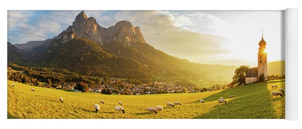Black Head Sheep Graze By A Church In Alps Yoga Mat